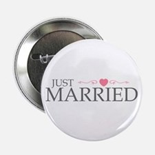 """Just Married (Heart Scroll Pink) 2.25"""" Button"""