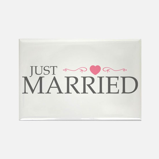Just Married (Heart Scroll Pink) Rectangle Magnet