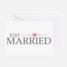 Just Married (Heart Scroll Pink) Greeting Card