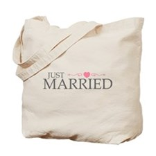 Just Married (Heart Scroll Pink) Tote Bag