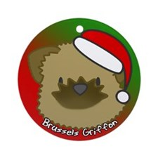Cartoon Brussels Griffon Christmas Ornament