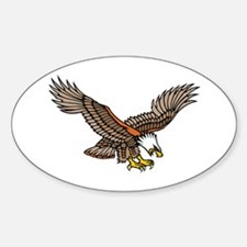 Flying Eagle Tattoo Art Oval Decal