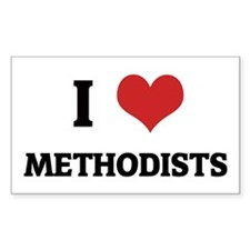 I Love Methodists Rectangle Decal