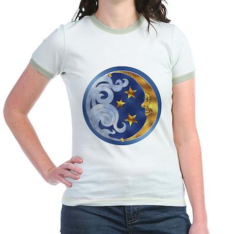 Celestial Moon and Stars Jr. Ringer T-Shirt