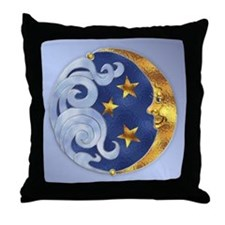 Celestial Moon and Stars Throw Pillow