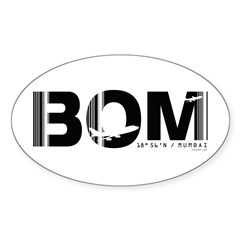 Mumbai Airport Code India BOM Oval Sticker