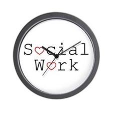 Social Work Hearts Wall Clock
