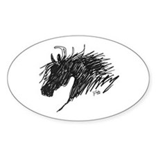 Horse Head Art Oval Decal