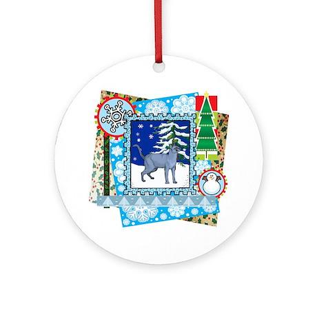 Scrapbook Russian Blue Christmas Ornament (Round)