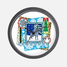 Scrapbook Russian Blue Christmas Wall Clock
