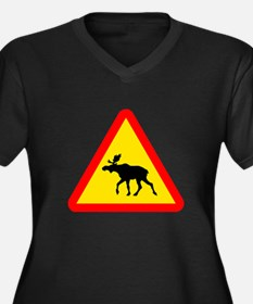 Moose Crossing Sign Women's Plus Size V-Neck Dark