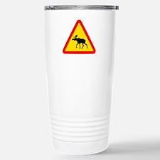 Moose Crossing Sign Stainless Steel Travel Mug