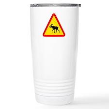 Moose Crossing Sign Travel Mug