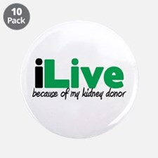 """iLive Kidney 3.5"""" Button (10 pack)"""