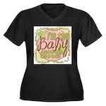 Baby Sister Women's Plus Size V-Neck Dark T-Shirt