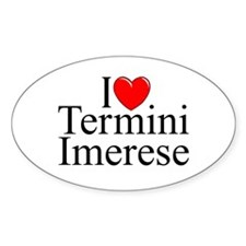 """I Love (Heart) Termini Imerese"" Oval Decal"