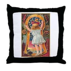 Little Girl Halloween Throw Pillow