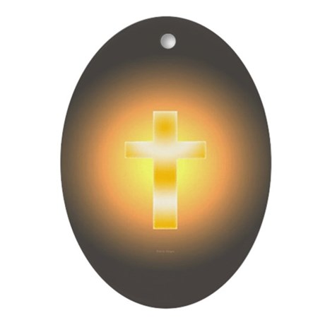 """Easter Cross"" Oval Ornament"