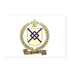 BRUNEAU Family Crest Postcards (Package of 8)