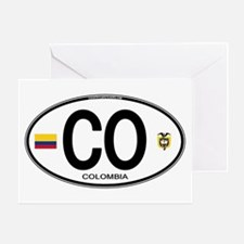 Colombia Euro Oval Greeting Card