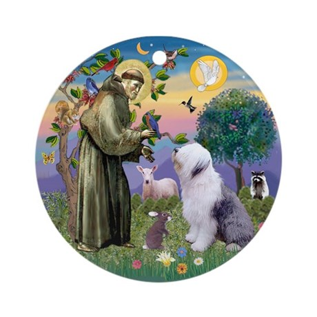 St Francis/Old English Sheepdog ornament.