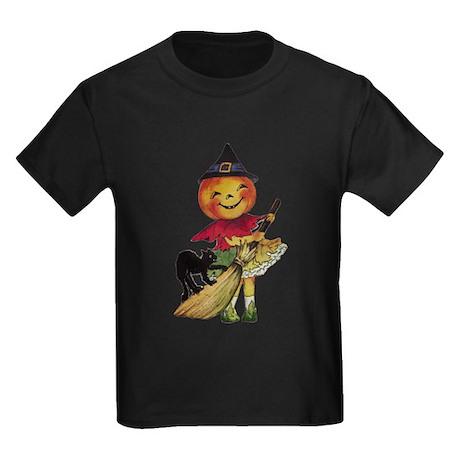 Pumpkin Witch Kids Dark T-Shirt