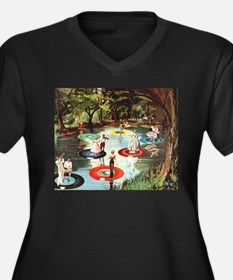 Phonograph/Record Player Women's Plus Size V-Neck