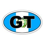Guatemala GT on Flag Oval Sticker