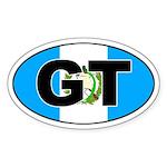 Guatemala GT on Flag Oval Sticker