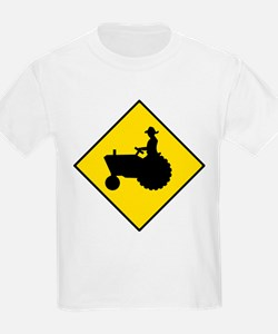 Tractor Crossing Sign - Kids T-Shirt