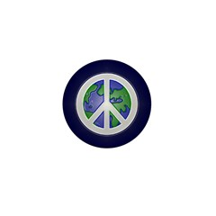 Earth Peace Sign 1 Inch Button