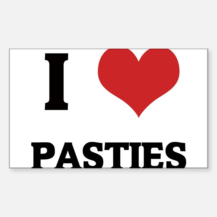 I Love Pasties Rectangle Decal