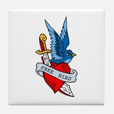 Free Bird Heart Knife Tattoo Tile Coaster