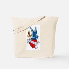 Free Bird Heart Knife Tattoo Tote Bag