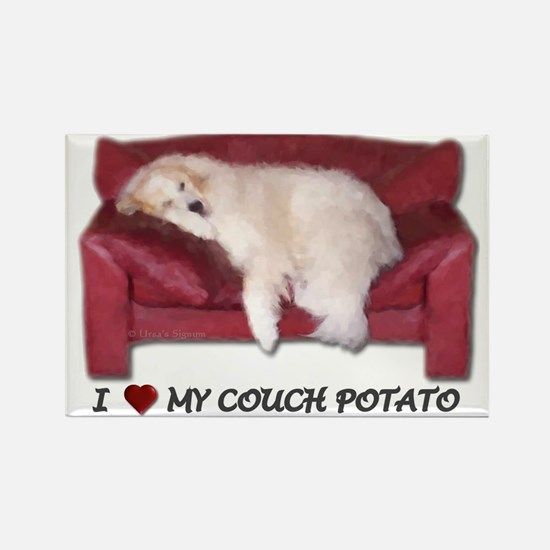 Great Pyrenees Rectangle Magnet, Couchpotato