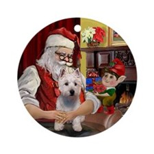 Santa at home with his Westie Keepsake (Round)