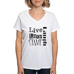 Live Love STAMP Women's V-Neck T-Shirt