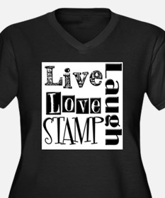 Live Love STAMP Women's Plus Size V-Neck Dark T-Sh