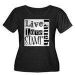 Live Love STAMP Women's Plus Size Scoop Neck Dark