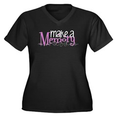 Make a Memory Women's Plus Size V-Neck Dark T-Shir