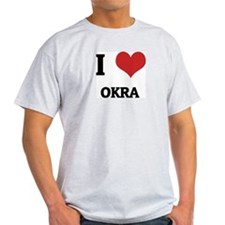 I Love Okra Ash Grey T-Shirt