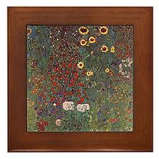 Gustav Klimt Art Framed Tile Sunflower Garden