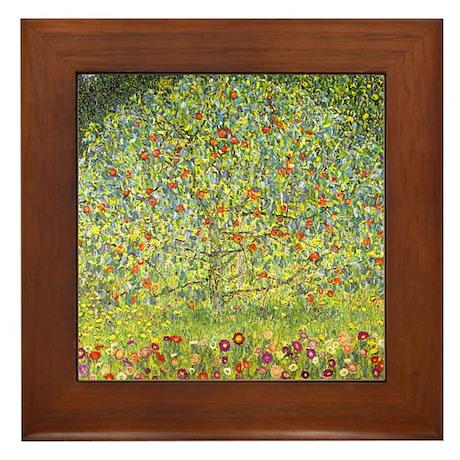 Gustav Klimt Art Framed Tile Apple Tree