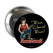"Run Liberal Run - McCain Palin 2.25"" Button (10 pa"