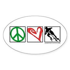 PEACE LOVE CARVE Oval Decal