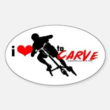 i (heart) to CARVE Oval Decal