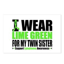 I Wear Lime Green Twin Sister Postcards (Package o