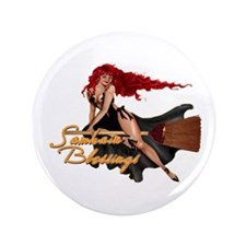 """Samhain Blessings Witch 3.5"""" Button"""