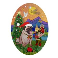 Christmas Fantasy Pug Keepsake (Oval)
