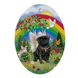 Pug rainbow Oval Ornaments